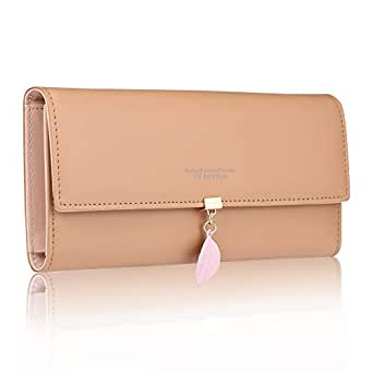 FT Funtor RFID Wallets for Women, Leaf Card Holder Trifold Ladies Wallets Coins Zipper Pocket with ID Window