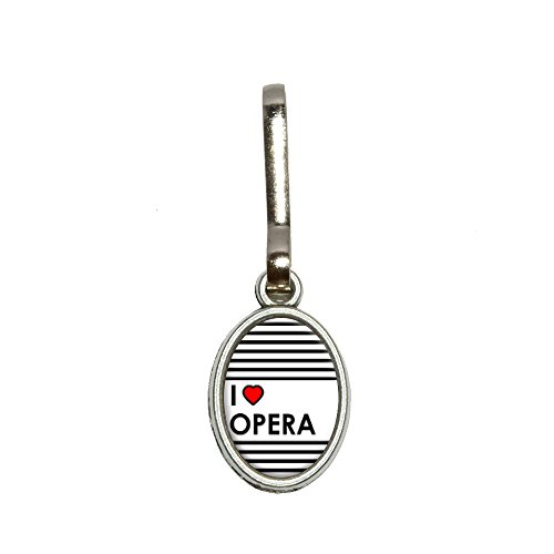I Love Heart Opera Antiqued Oval Charm Clothes Purse Luggage Backpack Zipper Pull