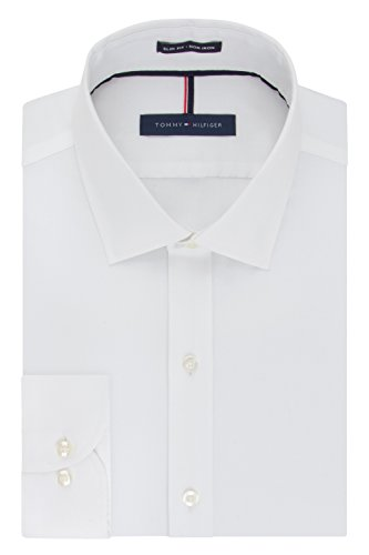 Tommy Hilfiger Men's Non Iron Slim Fit Solid Spread Collar Dress Shirt, White, 14.5' Neck 32'-33' Sleeve