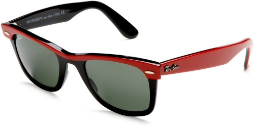 Ray-Ban WAYFARER II - TOP RED ON BLACK Frame CRYSTAL GREEN Lenses 50mm - Ban Wayfarer Ray Red