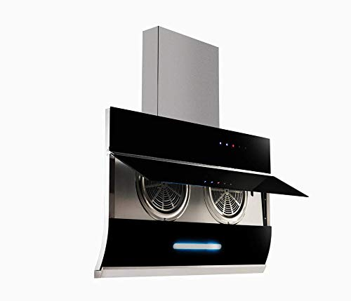 BLOWHOT Tianna Chimney 90 cms 1,300 m3/h suction Auto open Chimney (Filter less with large S.S oil cup, Touch control Black Color)