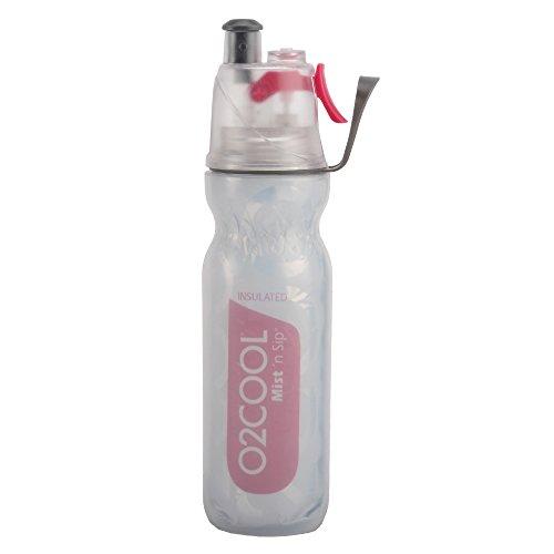 O2COOL ArcticSqueeze Insulated Mist 'N Sip Squeeze Bottle, 20 oz., Raspberry (Mist Spray Re)
