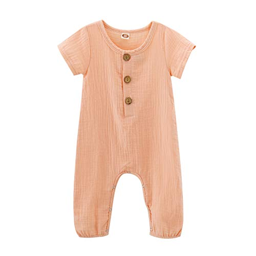 (Toddler Baby Girls Boys Solid Romper Summer Jumpsuit One-Piece Bodysuit Baby Onesie Romper Sleepwear Outfits Pink 12-18 Months)