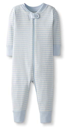 - Moon and Back by Hanna Andersson Baby/Toddler One-Piece Organic Cotton Footless Pajamas, Blue Stripe, 0-3 months