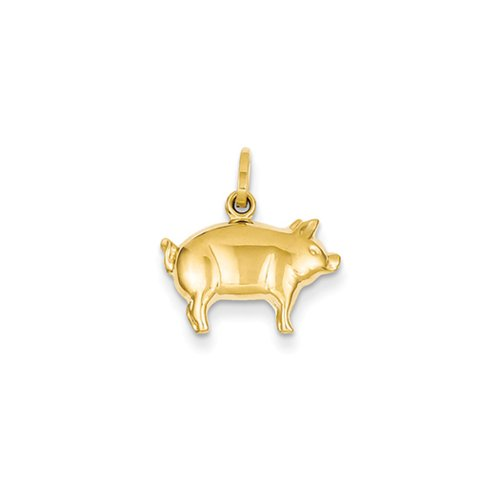 14k Yellow Gold 3D Polished Pig Charm or Pendant 14k Yellow Gold Pig
