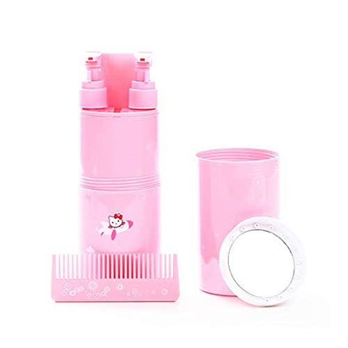Travel Wash Cup Toothbrush Box Portable Storage Empty Bottle Travel Goods Travel Care Set (Color : Pink)