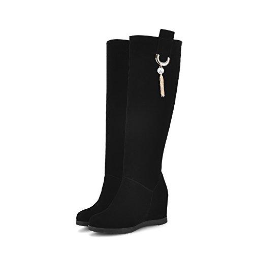 AgooLar Damen Hoher Absatz Eingelegt Rund Zehe Ziehen auf Stiefel mit Anhänger Schwarz