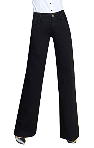 Ermonn Women's Office Lady Wear To Work Straight Boot Cut Jeans Denim Pants Womens Bootcut Trouser Jeans