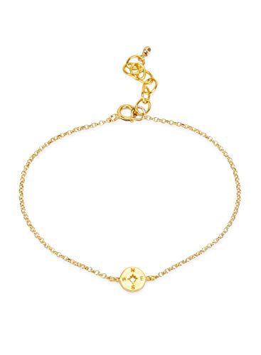 Compass On Chain (Dogeared Women's The Lucky Charm Bracelet, Compass Charm On Chain Gold One)
