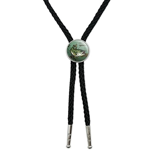 Bass Fish Swimming in River Western Southwest Cowboy Necktie Bow Bolo Tie