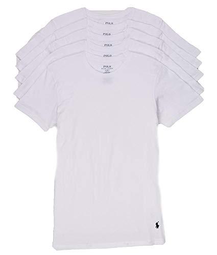 POLO RALPH LAUREN Classic Fit Cotton T-Shirt 5-Pack, L, White (Polo Ralph Lauren Cotton Crewneck)