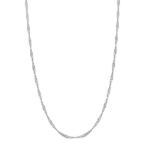(925 Sterling Silver 2mm Singapore Rope Twisted Chain 18