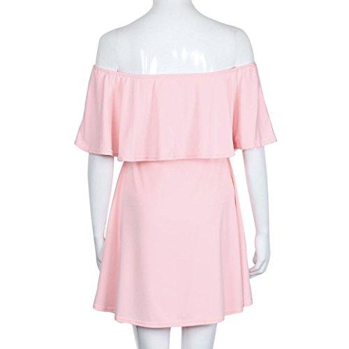 Vovotrade Mujer Dulce de verano de Falbala de los vestidos del hombro vestido sin mangas de la colmena Rosa