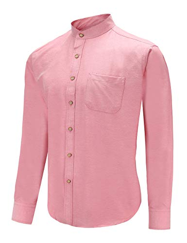 Xxl Shirts Band (Men's Slim Fit Casual Oxford Dress Shirt Banded Collar Long Sleeve Button Down Shirts with Pocket (XXL, PPink))