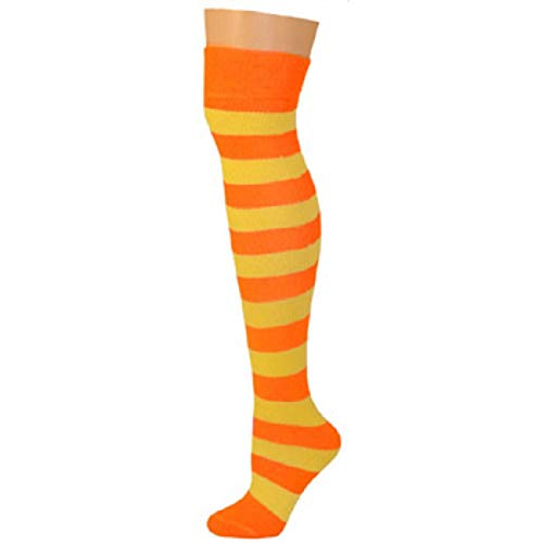 AJs Knee High Striped Socks - Neon Orange, Lemon Yellow