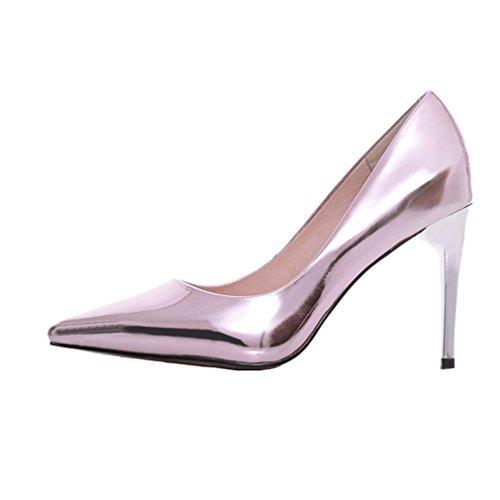 Enmayer Donna Slip-on Tacchi Alti Scarpe A Punta Per Le Donne Casual Vestito Partito Scarpe A Spillo Basse Rosa