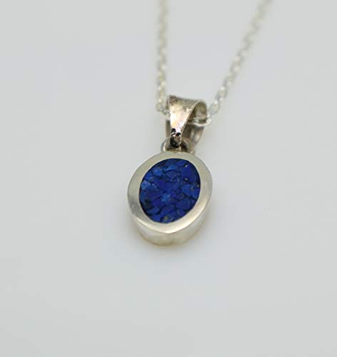 Oval-shaped Lapis Lazuli Mosaic Sterling Silver Necklace 16.1'' to 17.7 inches, Adjustable Chain, Semi Precious - Cottage Natural Rocker