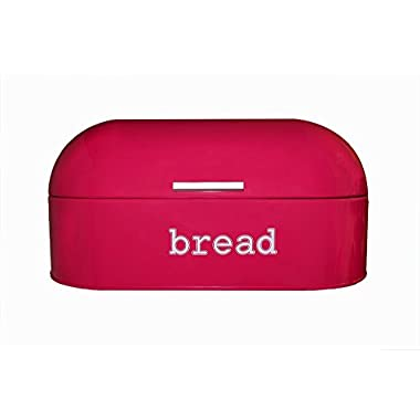 Red Pink (Deep Salmon Color) Stainless Steel Vintage Bread Box for Kitchen Storage 17 x 8.5 x 8.5 in