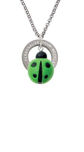 Green Ladybug Pendant (Resin Lime Green Ladybug Love Bug Custom Engraved Affirmation Ring Necklace)