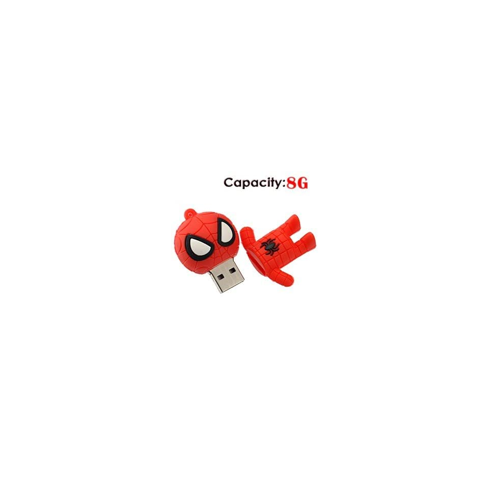 8G Small Cartoon Spider Man Shape Rubber USB Flash Drive (Red)