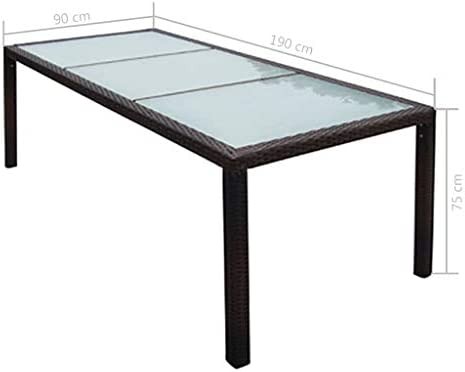 Vidaxl Table De Jardin Resine Tressee Meuble Mobilier Terrasse Salle A Manger Amazon Fr Cuisine Maison