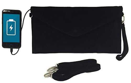 W4W Womans Tech Womens Envelope Charging Clutch Bag/Wristlet; Compatible with All Phones - 2,600mAh Battery Will Give Your Phone A Full Recharge - Black Velvet