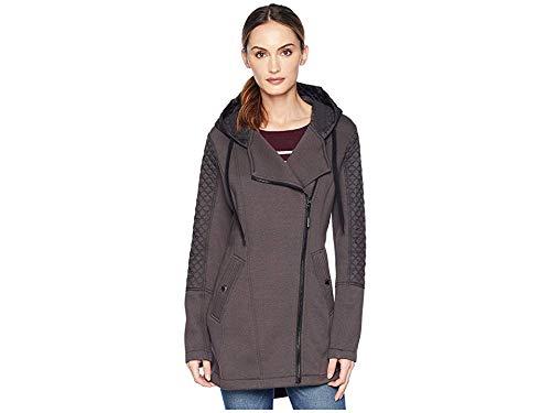 Michael Michael Kors Women's Zip Front/Zip Back Hooded Knit Coat A320673GZ Gunmetal Large