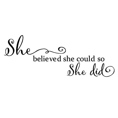 ZSSZ She Believed She Could so She Did - Wall Decal Inspirational Quote Wall Words Sticker Art Letters Girl Bedroom Decor ()