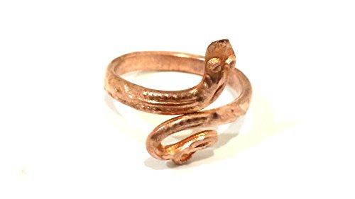 M'VIR Snake Copper Ring Handmade Adjustable for Men/Women 2 mm Thick FREE Pouch (Copper Designer Ring)