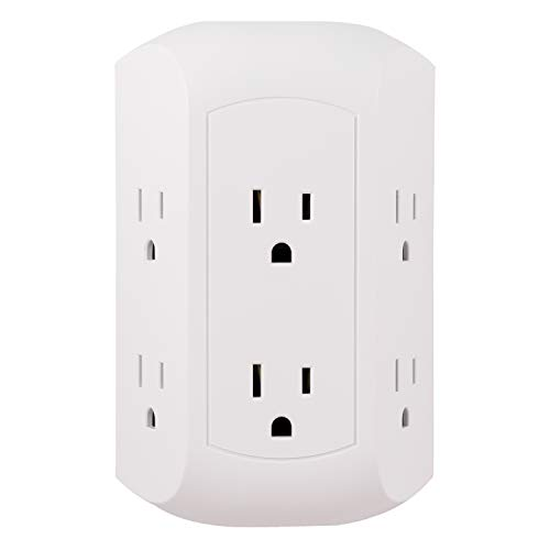 Power 1 Outlet - GE Pro 6 Outlet Surge Protector Adapter Spaced Tap, Power Strip, Charging Station, Side Access, White, 43648