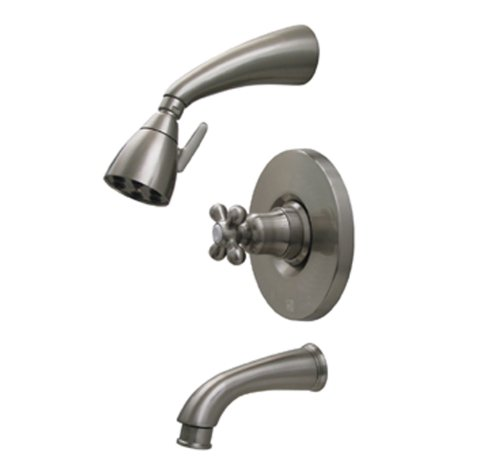 Orb Pressure Balance Shower - Whitehaus 614.865PR-ORB Blairhaus Mckinley 2 5/8-Inch Pressure Balance Valve with Showerhead and Bell-Shaped Cross Handle, Oil Rubbed Bronze