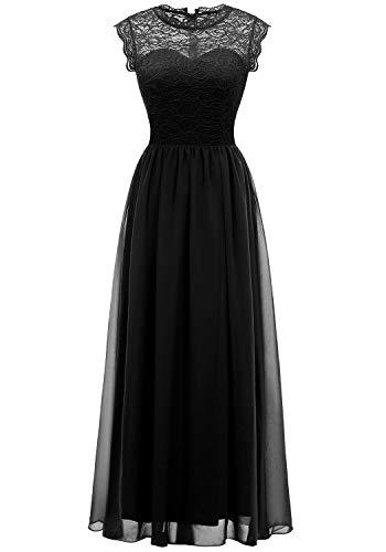 (MUADRESS 6056 Women's Vintage Lace Chiffon Bridesmaid Formal Evening Party Maxi Dress Black XX-Large)