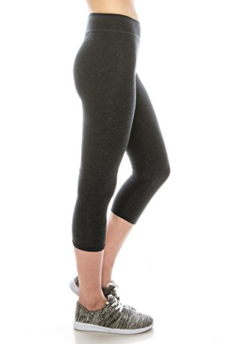 - EttelLut Cotton Spandex Basic Knit Jersey Capri Workout Clothes for Women Leggings Charcoal M