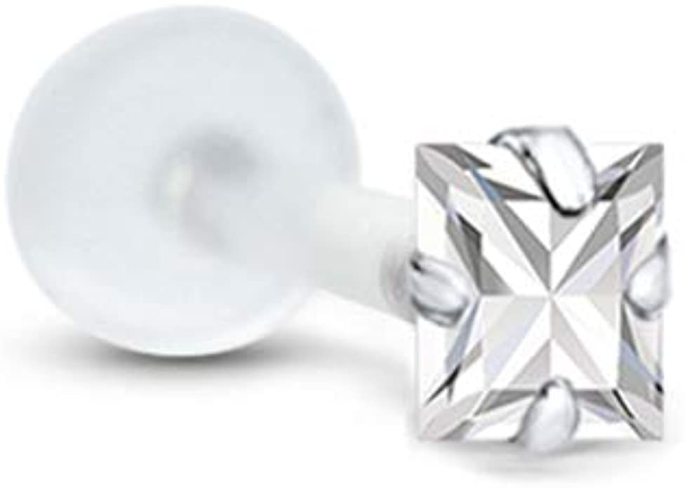 Bioflex Push Pin Labret Nose Stud or Nose Screw Ring Large 6mm Star CZ 18G 16G