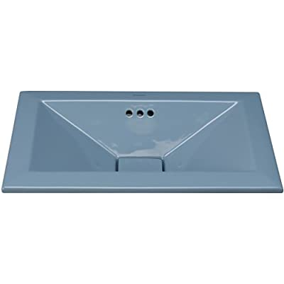 "RonBow 200360 Pyramid 20-1/2"" Ceramic Drop In Bathroom Sink with Overflow and Dr,"