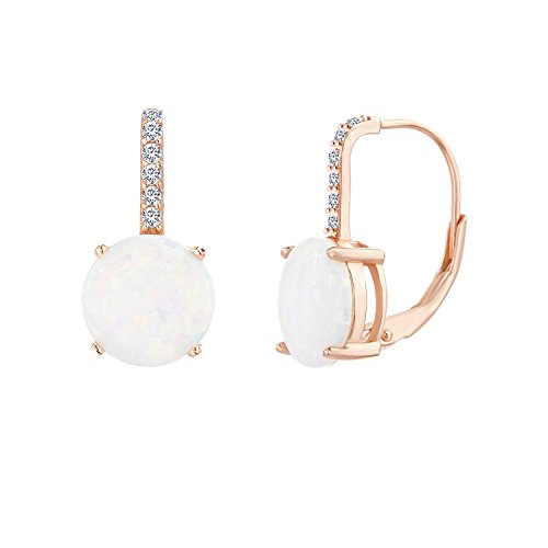 Lesa Michele Laboratory Created White Opal and Cubic Zirconia Lever Back Mother's Day Drop Earrings in Rose Gold Plated Sterling Silver