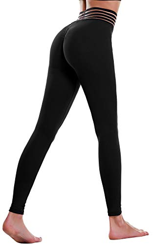 THANTH Womens Yoga Pants High Waist Ruched Butt Lifting Tummy Control Workout Capris Leggings Black S