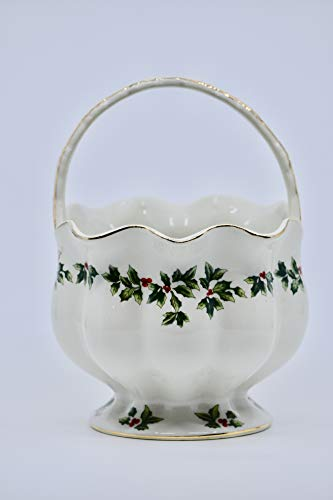 Living Quarters - Christmas Holly 7.5 inch Porcelain Basket - Out of Production - Christmas Decor - Collectible