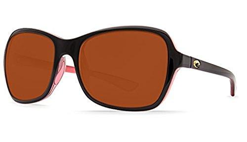 Costa Kare Sunglasses Shiny Black / Hibiscus / Copper 580P & Cleaning Kit Bundle
