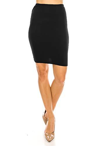 Women's Midi Long Pencil Straight Skirt Solid & Floral Maxi Casual, Office, Dressy Bodycon (Small, Black Mini 20