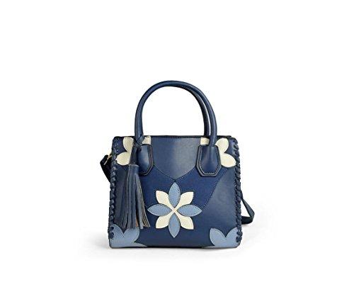 Mini Shopper Con Detalle De Flores. Mini Shopper With Flower Detail. Azul Blue