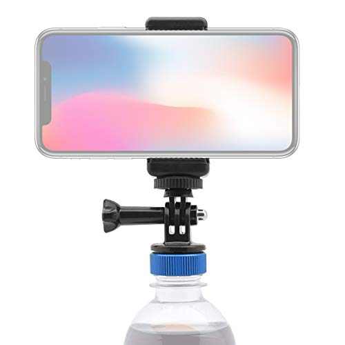 Moman Phone Clamp Stand Mount, with Universal Bottle Cap Adapter, Max 3.3 inch Width-adjustable and Rotatable Cellphone Clamp and 2 Screws for Tripod Mount