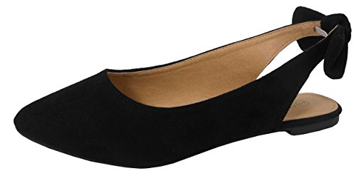 Pointed Slingback - Jynx Women's Slingback Bow Pointed Toe Fashion Ballet Flat Mule (8.5 B(M) US, Black)