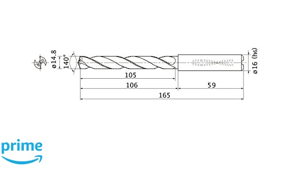 Mitsubishi Materials MMS1480X5DB MMS Series Solid Carbide Drill 16 mm Shank Dia. 14.8 mm Cutting Dia 5 mm Hole Depth Internal Coolant 2.7 mm Point Length