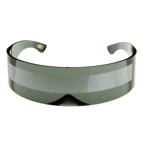 zeroUV - 80s Futuristic Cyclops Cyberpunk Visor Sunglasses with Semi Translucent Mirrored Lens (Smoke/Silver) -