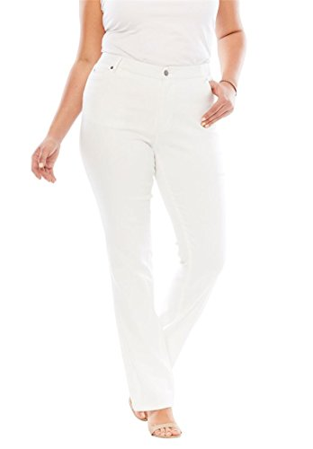 Women's Plus Size 5-Pocket Bootcut Jeans With Invisible Stretch White Denim 5 Pocket Bootcut Jeans