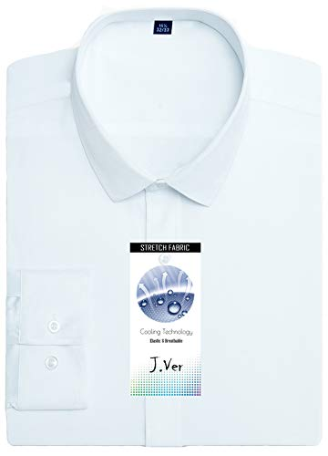 (J.VER Men's Poplin Dress Shirts Non Iron Long Sleeve Elastic Regular Fit - Color: White, Size: 16.5