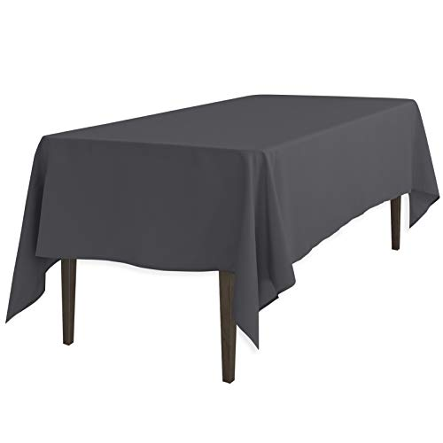 LinenTablecloth Rectangular Polyester Tablecloth, 60-Inch by 102-Inch, Charcoal