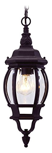 Black 1 Light 100W Outdoor Pendant with Medium Bulb Base and Clear Beveled Glass from Frontenac Series