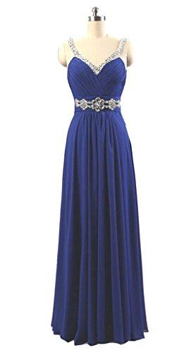 Vantexi Women's Rhinestone Long Bridesmaid Formal Prom Dress Royal Blue 22